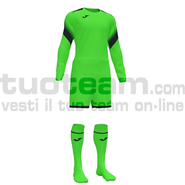 101477 - ZAMORA V SET MAGLIA ML+SHORT+CALZ. 100% polyester interlock - 020 VERDE FLUOR