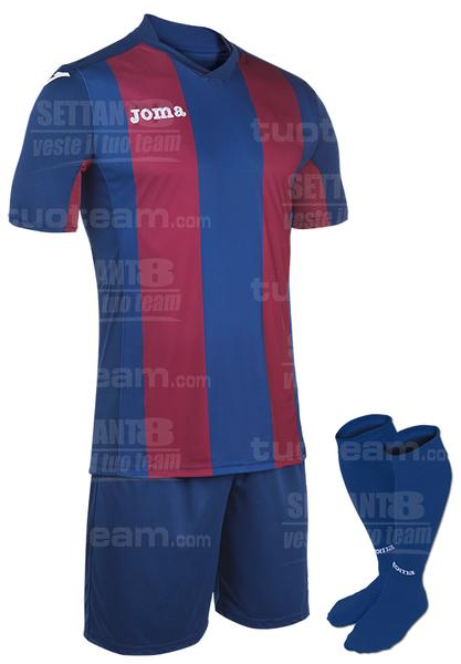 100439 - PISA SET MAGLIA MC+SHORT+CALZ. 100% polyester interlock sublimato - 365 BLU SCURO/GRANATA