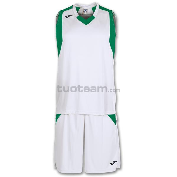 101115 - FINAL SET CANOTTA + SHORT 100% polyester interlock - 213 BIANCO / VERDE