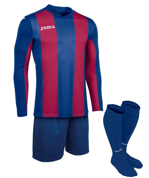 100440 - PISA SET MAGLIA ML+SHORT+CALZ. 100% polyester interlock sublimato - 365 BLU SCURO/GRANATA