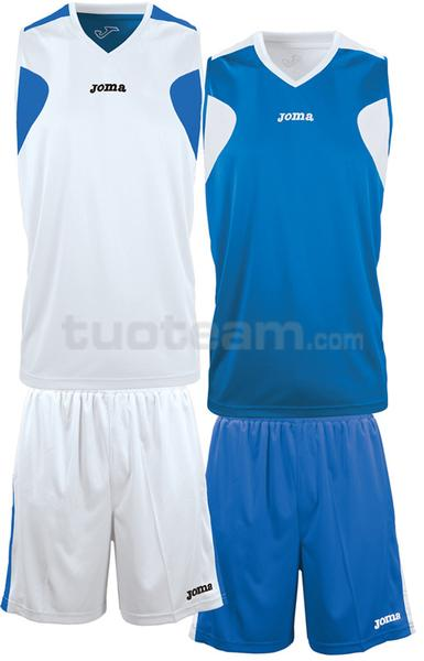 1184 - REVERSIBLE SET DOUBLE MAGLIA + SHORT 100% polyester interlock - 002 BIANCO/BLU