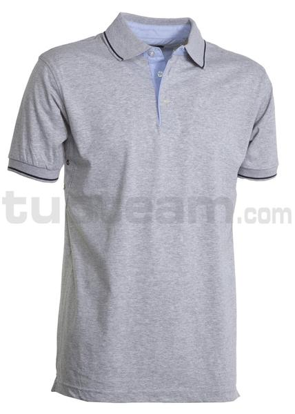 CAMBRIDGE - CAMBRIDGE Polo m/c 100% Cotone - GRIGIO MELANGE/BLU NAVY