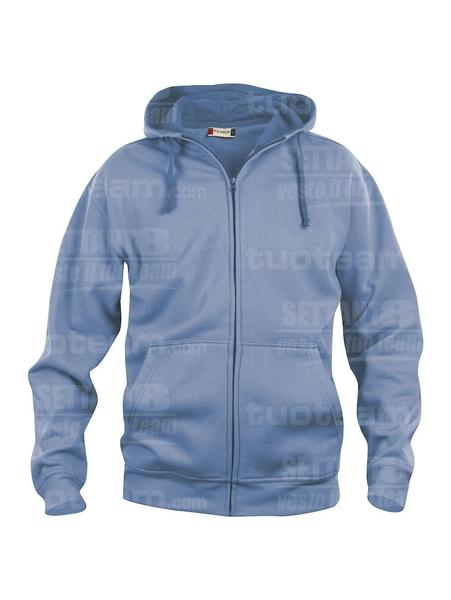 021034 - FELPA Basic Hoody Full zip Men's - 57 azzurro