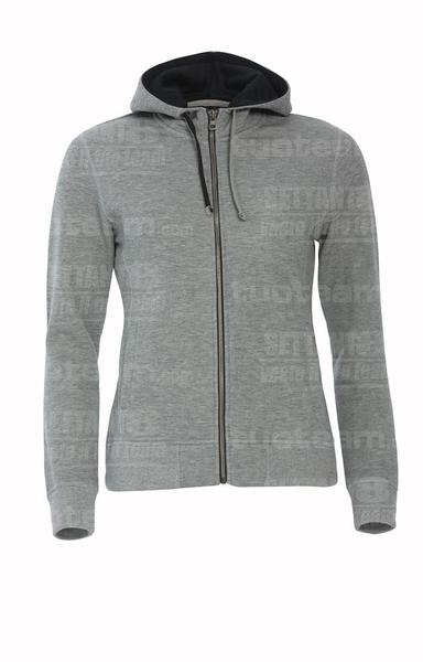 021045 - FELPA Classic Hoody Full Zip Ladies - 95 grigio melange