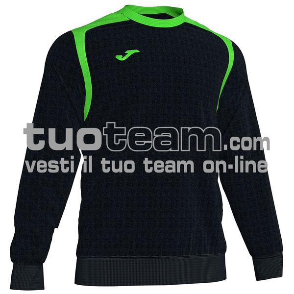101266 - FELPA CHAMPION V girocollo 100% polyester fleece - 117 NERO / VERDE