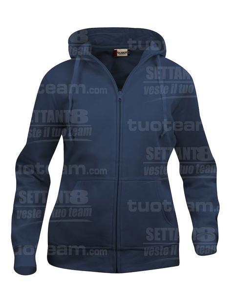 021035 - FELPA Basic Hoody Full zip Lady - 580 blu