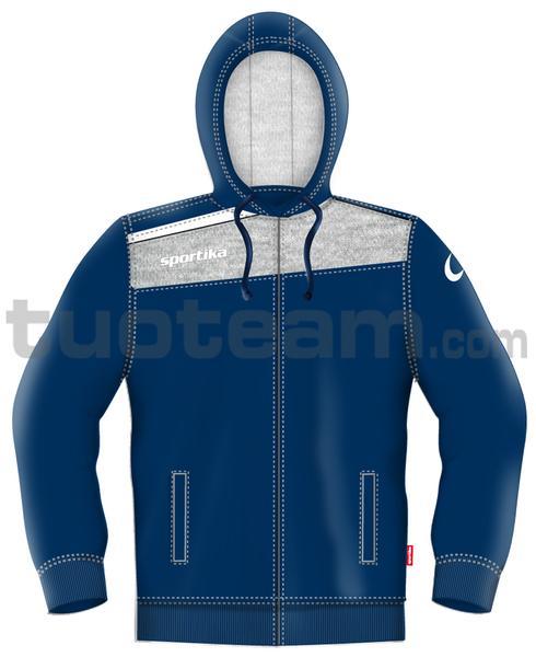 7454 - felpa TORONTO - BLU / GRIGIO / BIANCO