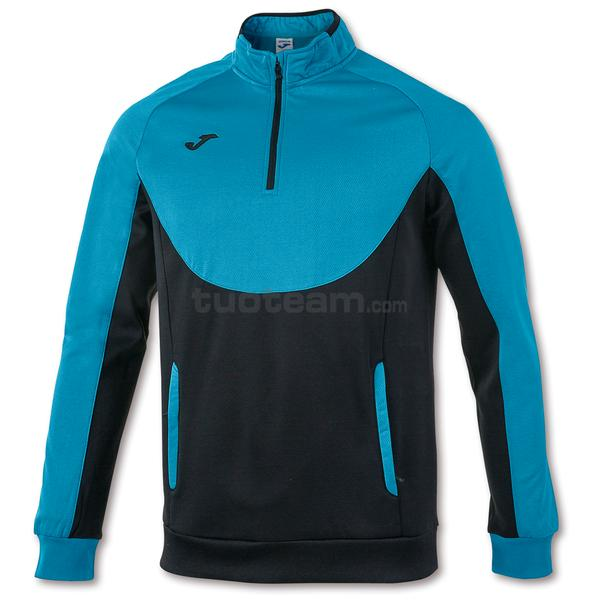 101102 - FELPA 1/2 ZIP ESSENTIAL - 116 TURCHESE / NERO