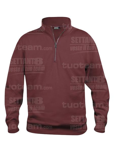 021033 - FELPA Basic Half Zip - 38 bordeaux