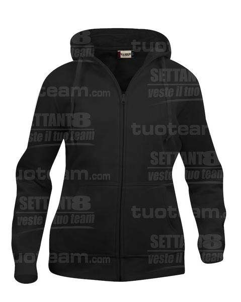 021035 - FELPA Basic Hoody Full zip Lady - 99 nero