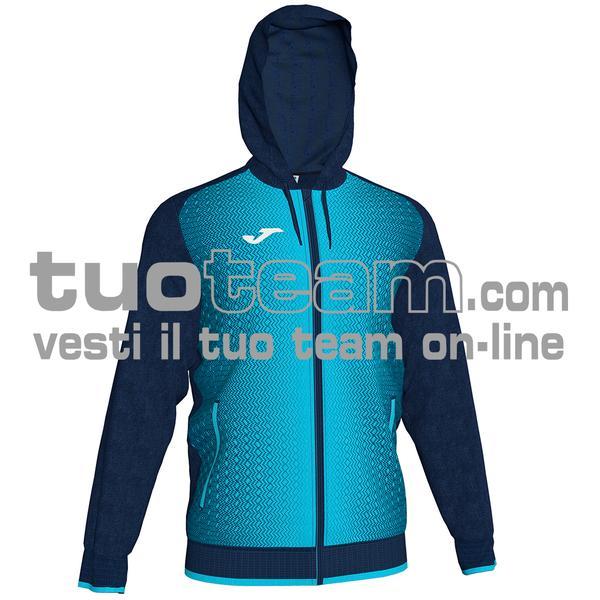 101285 - FELPA FULL ZIP 100% polyester tricot - BLU NAVY / TURCHESE FLUO