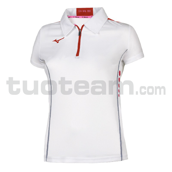62EA7201 - Hex rect Zip Polo W - White/Red