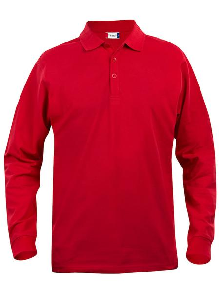 028233 - Basic Polo Long Sleeve Junior - 0035 bianco/rosso