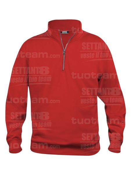 021033 - FELPA Basic Half Zip - 35 rosso