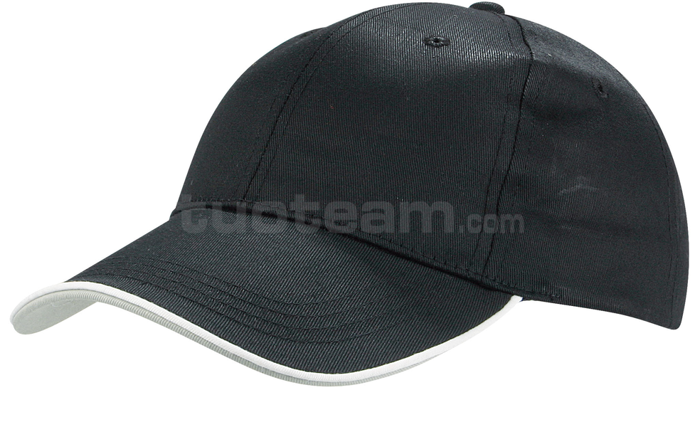K18062 - CAPPELLINO 6 PANNELLI PIPING / 6 PANELS PIPING CAP - NERO