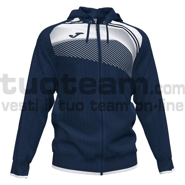 101605 - SUPERNOVA II FELPA FULL ZIP CAPPUCCIO 100% polyester interlock - 332 DARK NAVY / BIANCO