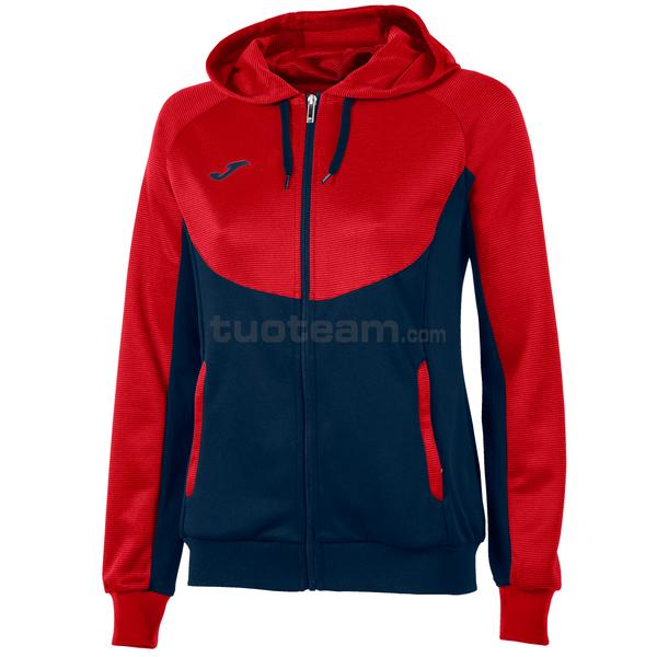 900699 - ESSENTIAL WOMAN FELPA FULL ZIP 100% polyester tricot - 306 ROSSO / NAVY