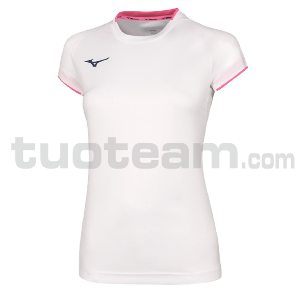 32EA7202 - Core Shirt sleeve tee - White/Pink Fluo