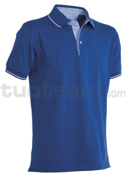 CAMBRIDGE - CAMBRIDGE Polo m/c 100% Cotone - BLU ROYAL/BIANCO