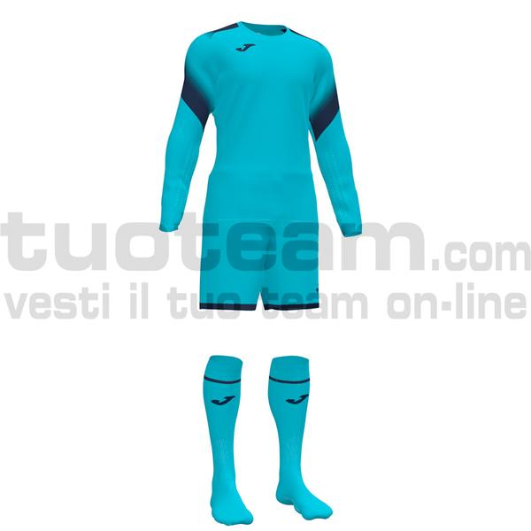 101477 - ZAMORA V SET MAGLIA ML+SHORT+CALZ. 100% polyester interlock - 010 TURCHESE FLUOR
