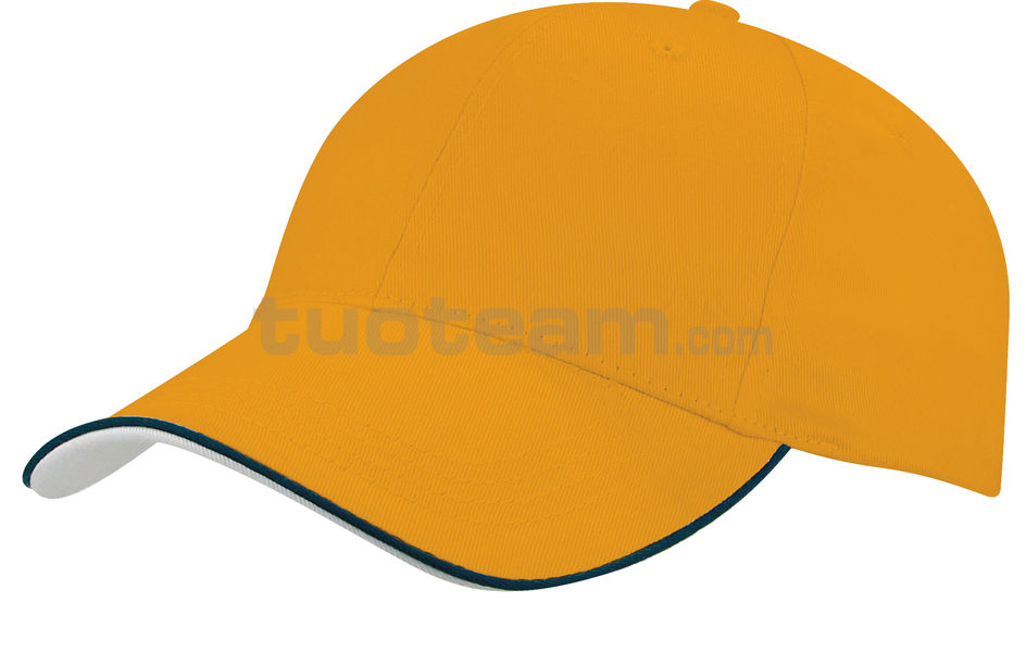 K18062 - CAPPELLINO 6 PANNELLI PIPING / 6 PANELS PIPING CAP - GIALLO