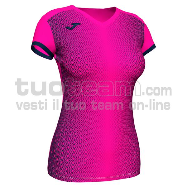 900890 - SUPERNOVA WOMAN MAGLIA MC 100% polyester interlock - 033 FUCSIA FLUOR / NERO