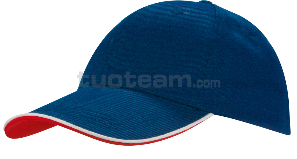 K18062 - CAPPELLINO 6 PANNELLI PIPING / 6 PANELS PIPING CAP - BLU ROYAL