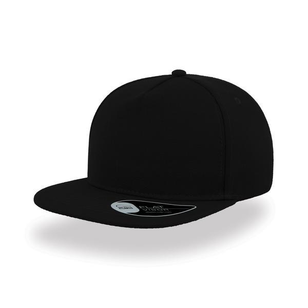 ATSNFI - Cappellino SNAP FIVE a 5 pannelli con visiera piatta - NERO