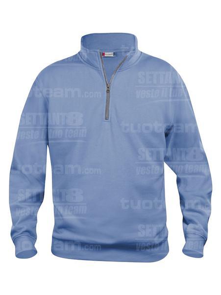 021033 - FELPA Basic Half Zip - 57 azzurro