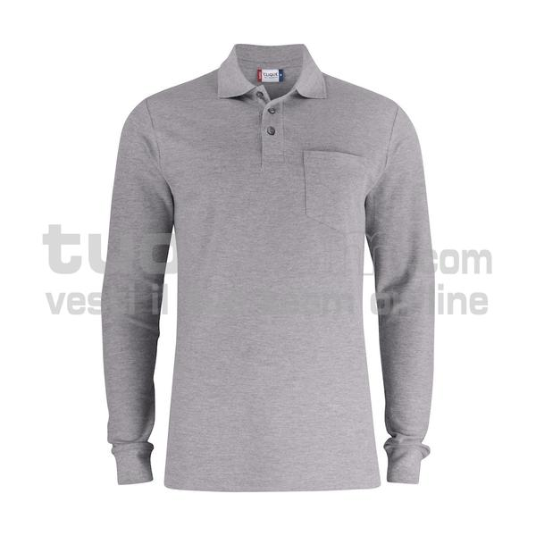 028235 - Basic Polo L/S w. Pocket - 95 grigio melange