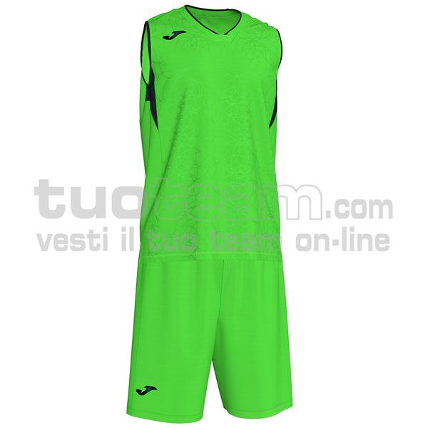 101373 - SET CANOTTA + SHORT BASKET CAMPUS 100% polyester interlock - 021 VERDE FLUOR/ NERO