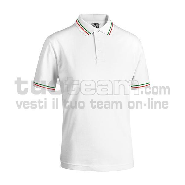 E0416 - Polo CORTEZ SPORT m/c tricolore - BIANCO