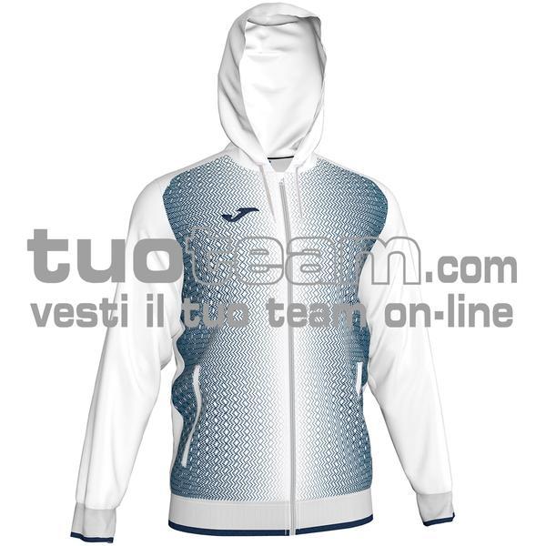 101285 - FELPA FULL ZIP 100% polyester tricot - 203 BIANCO / DARK NAVY