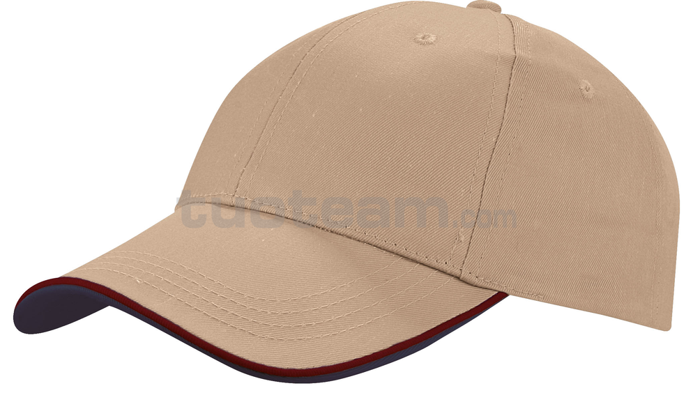 K18062 - CAPPELLINO 6 PANNELLI PIPING / 6 PANELS PIPING CAP - KAKI