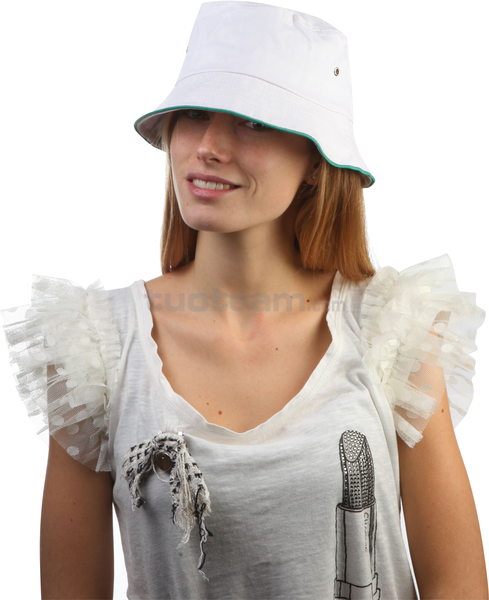 K18023 - CAPPELLINO TREND CON PIPING / PIPING TREND CAP - BIANCO