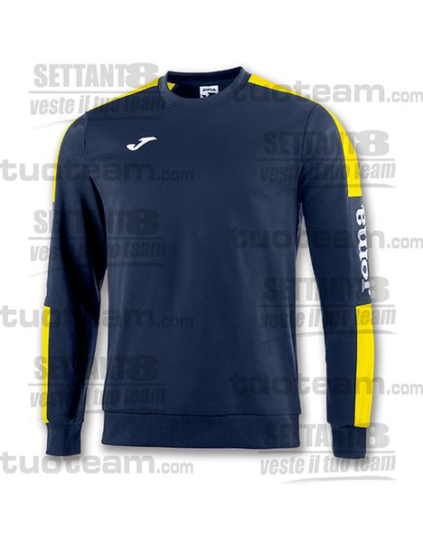 100801 - CHAMPION IV FELPA CHAMPION IV GIROCOLLO POLYFLEECE - BLU NAVY/GIALLO/BIANCO