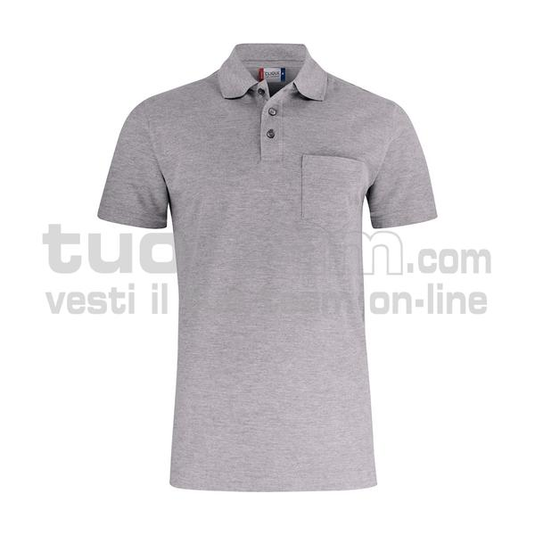 028255 - Basic Polo w. Pocket - 95 grigio melange