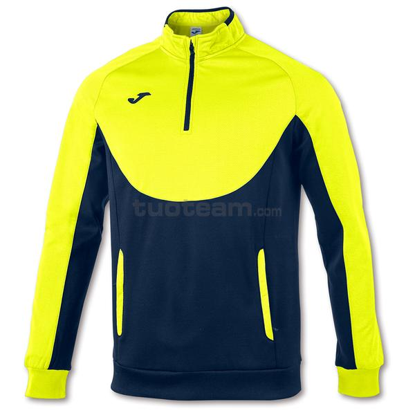 101102 - FELPA 1/2 ZIP ESSENTIAL - 321 GIALLO FLUOR/ DARK NAVY