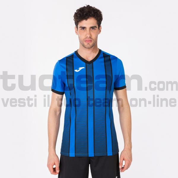 101464 - TIGER II MAGLIA MC 100% polyester interlock - 701 BLU ROYAL / NERO