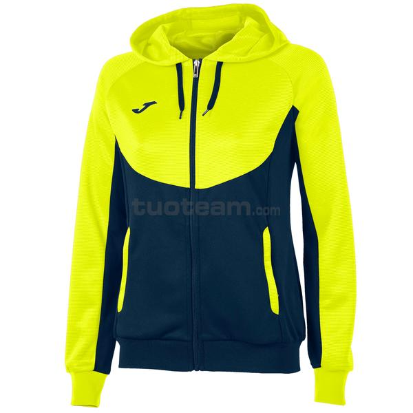 900699 - ESSENTIAL WOMAN FELPA FULL ZIP 100% polyester tricot - 321 GIALLO FLUOR/ DARK NAVY