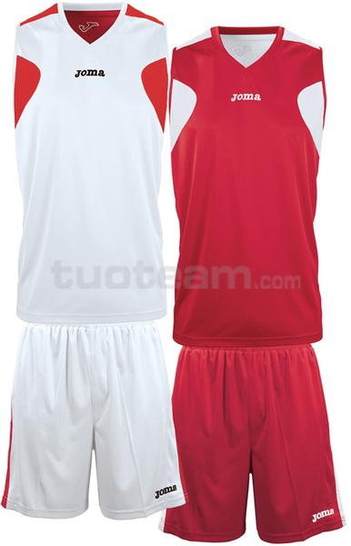 1184 - REVERSIBLE SET DOUBLE MAGLIA + SHORT 100% polyester interlock - 003 BIANCO/ROSSO