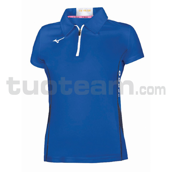 62EA7201 - Hex rect Zip Polo W - Royal/White