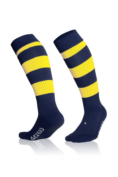 0022281 - CALZA DOUBLE STRIPED - BLU NAVY / GIALLO