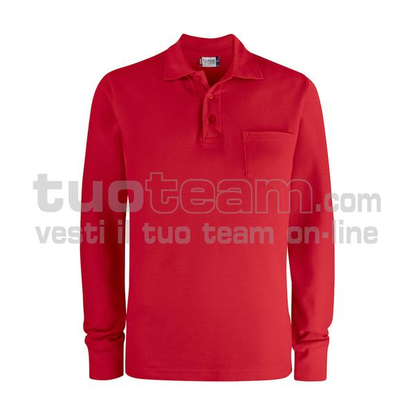 028235 - Basic Polo L/S w. Pocket - 35 rosso