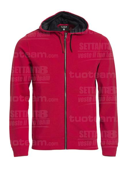 021044 - FELPA Classic Hoody Full Zip - 35 rosso