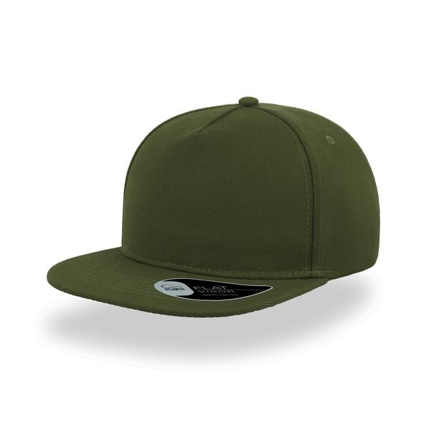ATSNFI - Cappellino SNAP FIVE a 5 pannelli con visiera piatta - OLIVE