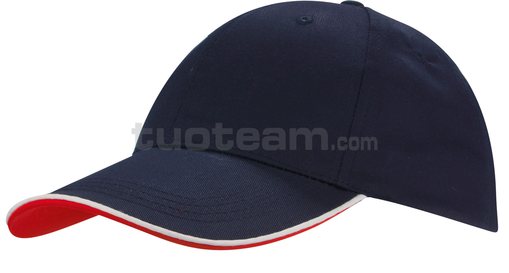 K18062 - CAPPELLINO 6 PANNELLI PIPING / 6 PANELS PIPING CAP - NAVY