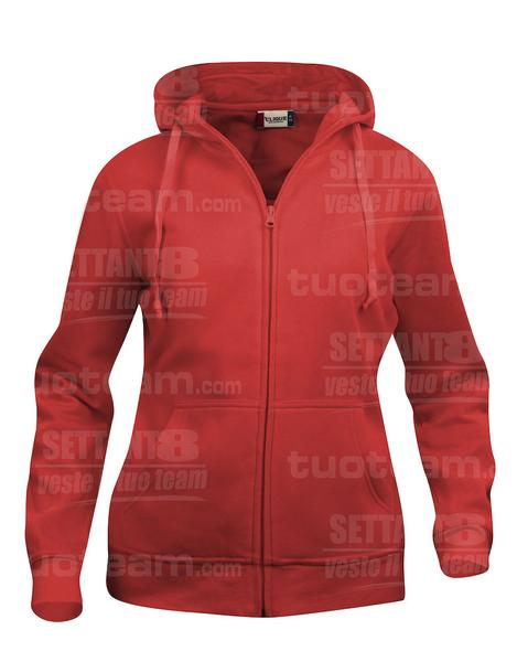 021035 - FELPA Basic Hoody Full zip Lady - 35 rosso