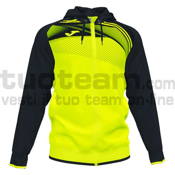 101605 - SUPERNOVA II FELPA FULL ZIP CAPPUCCIO 100% polyester interlock - 061 GIALLO FLUO/NERO