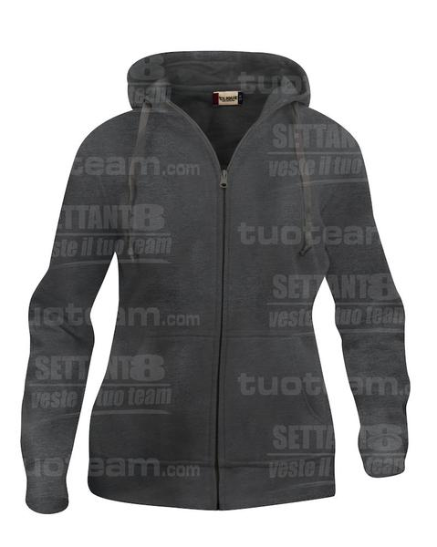021035 - FELPA Basic Hoody Full zip Lady - 955 antracite melange